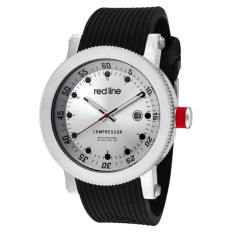 "Red Line Men's RL-18000-01 ""Compressor"" Silver-Tone Watch With Black Silicone Band (Intl)"