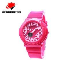 Reddington RDT5433DTMM Dual Time Jam Tangan Wanita Rubber Strap (Merah Muda) (One Size)