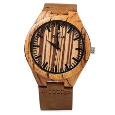 REDEAR SJ 1448 - 4 Quartz Men Watch Wooden Dial Leather Band Water Resistance Wristwatch - Intl
