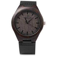 REDEAR SJ 1448 - 4 Quartz Men Watch Wooden Dial Leather Band Water Resistance Wristwatch (BLACK)