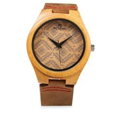 REDEAR SJ 1448 - 6 Female Wooden Quartz Watch Leather Strap Special Pattern Dial Wristwatch (BROWN)