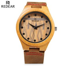 REDEAR SJ1448 - 5 Female Wooden Quartz Watch Leather Strap Special Pattern Dial Wristwatch (BROWN)