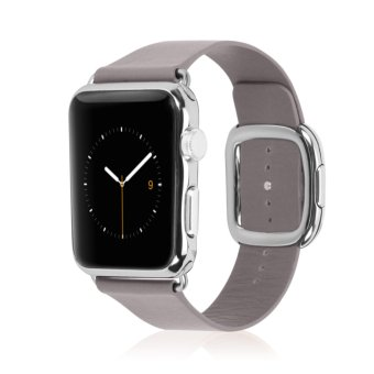 Replacement Modern Buckle Genuine Leather Wrist Band Strap for Apple Watch 38mm in Light Pink