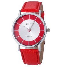 Retro Dial Leather Analog Quartz Wrist Watch Watches Red (Intl)