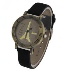 Retro Paris Eiffel Tower Pattern Watch PU Leather Watch Adjustable Watch Roman Numerals Watch Letter Watch (Intl)