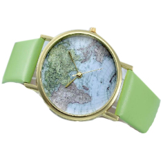 Retro World Map Watch Women Round Dial Leather Strap Watches Vintage Earth Map Wristwatch Green (Intl)