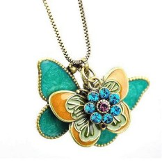 Rhinestone Colored Glaze Double Butterfly Flower Pendant Long Necklace