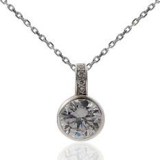 """Rhodium Plated 925 Sterling Silver Swarovski Zirconia Round Cable-chain Solitaire Necklace, 16"""" - 18"""""""