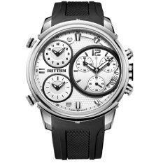 Rhythm Triple Time Jam Tangan Pria - Strap Stainless Steel - Hitam Silver - RH1440R
