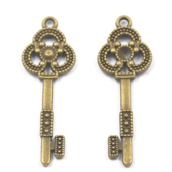 RIS 6pcs Antique Bronze Flower Key Charms Pendants For Jewelry Making DIY