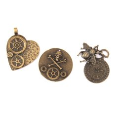RIS 9pcs Antique Bronze Steampunk Clock Gears Pendant Necklace Findings Charms (Intl)