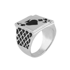 Romantic Classic Fashion Metal Playing Cards Poker Male Ring Wedding Jewelry Gift - intl