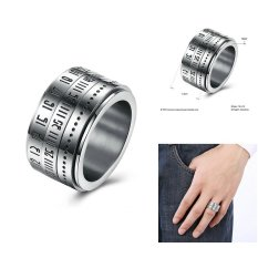 Rotating Roman Numerals Ring for Man Stell Jewelry Size 7 8 9 10 us - intl
