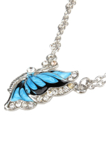 S & F Blue Fashion Crystal Butterfly Pendant Necklace (Intl)