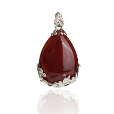 S & F Dual Style Carnelian Rose Quartz Amethyst Teardrop Inlay Pendant Necklace Bangle - Intl