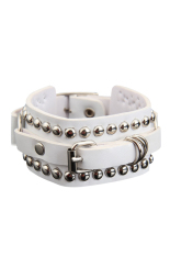 S & F Exquisite Punk Style Multilayer Rivets Wide Bracelet Bangle For Woman White (Intl)