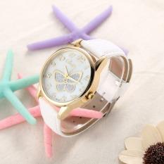S & F Fashion PU Leather Watch Butterfly Women Dress Watch White (Intl)