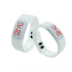S & F Mens Womens Rubber LED Watch Date Sports Bracelet Digital Wrist Watch White (Intl)