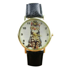 S & F Neutral Diamond Lovely Cats Face Faux Leather Quartz Watches Black (Intl)