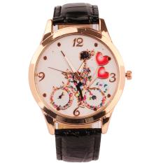 S & F New Fashion Women Dial Classic Design Leather Quartz Ladies Wrist Watch Black (Intl)