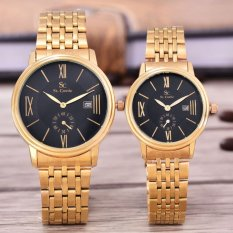 Saint Costie Original Brand - Jam Tangan Pria & Wanita - Body Gold - Black Dial - Stainless Steel Band - SC-RT-8007GL-Detik Kcl-GB -Couple