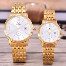 Saint Costie Original Brand - Jam Tangan Pria & Wanita - Body Gold - White Dial - Stainless Stell Band - SC-RT-8007GL-Detik Kcl-GW-Couple