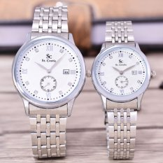 Saint Costie Original Brand - Jam Tangan Pria & Wanita - Body Silver - White Dial - Stainless Steel Band - SC-RT-DTKBWH-8009GL-SW-Couple