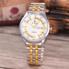 Saint Costie Original Brand, Jam Tangan Pria - Body Silver / Gold - White Dial - Stainless Stell Band - SC-RT-8017G-TH-SGW-KOMB (White)