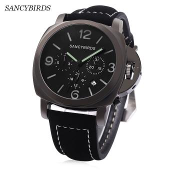 SANCYBIRDS FY955 Men Quartz Watch Calendar Luminous Pointer Water Resistance Wristwatch (BLACK)