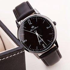 Santorini Jam Tangan Pria Wanita Fashion Vintage Faux Leather Quartz Analog Men Lady Watch - Black