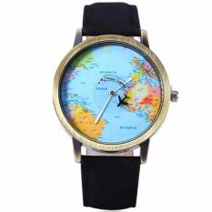 Santorini Jam Tangan Pria Wanita World Map Fashion Quartz Leather Men Lady Watch - Black