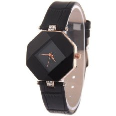 Santorini Jam Tangan Wanita Fashion Faux Leather Luxury Women Analog Quartz Wrist Watch - Black - intl
