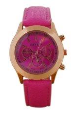 Sanwood Geneva Women's Roman Numerals Faux Leather Quartz Wrist Watch Rose-Red