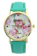 Sanwood Geneva Women's Rose Flower Faux Leather Analog Quartz Wrist Watch Mint Green