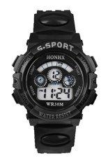 Sanwood Men's Boys' Date Alarm Stopwatch Sports LED Digital Rubber Wrist Watch Black
