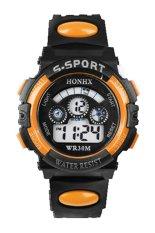 Sanwood Men's Boys' Date Alarm Stopwatch Sports LED Digital Rubber Wrist Watch Orange