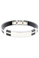 Sanwood Unisex Stainless Steel Rubber Wristband Clasp Cuff Bracelet White