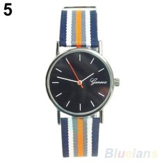 Sanwood® Unisex Striped Knitted Nylon Band Quartz Watch Blue Strap Black Dial - intl