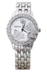 Sanwood Women's Butterfly Rhinestone Inlaid Alloy Quartz Wrist Watch