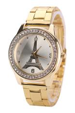 Sanwood Women's Eiffel Tower Dial Stainless Steel Strap Quartz Wrist Watch Gold