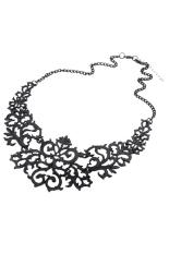 Sanwood Womens Hollow Pendant Chain Necklace Black - Intl