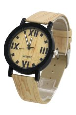 Sanwood Women's Men's Grain Bronze Roman Numerals Faux Leather Wrist Watch Beige