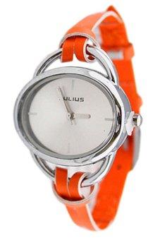 Sanwood Women's Oval Slim Faux Leather Analog Quartz Wrist Watch Orange