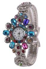 Sanwood Women's Silver Watchband Rhinestone Flower Shape Wrist Watch Multi-Color