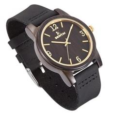 Sentai Natural Wood Watch, Genuine Leather Strap, Handmade Black Sandalwood Quartz Watches, Mens Womens Wrist Watch