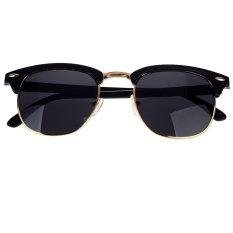Setengah Emas Bingkai Kacamata Hitam Vintage Retro Gaya Unisex Kacamata Hitam