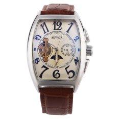 SEWOR Men's Automatic Mechaincal Business Leather Strap Wrist Watch (Brown Beige) (Intl)
