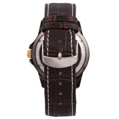 SHENHUA WSH361 Vintage Automatic Mechanical Skeleton Mens Sport Watch Brown Leather Strap (White)