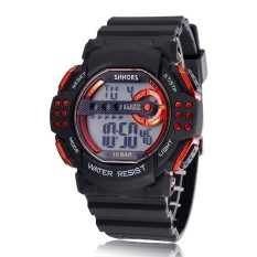 SHHORS 2016 Brand Men Fashion Silicone Band Digital Casual Clock Sport Watches Men Wristwatch Orange (Intl)