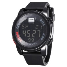 SHHORS Men Outdoor Sports Watches Boys Stopwatch Silicone Band Digital LED Watch Luxury Brand Relogio Black (Intl)